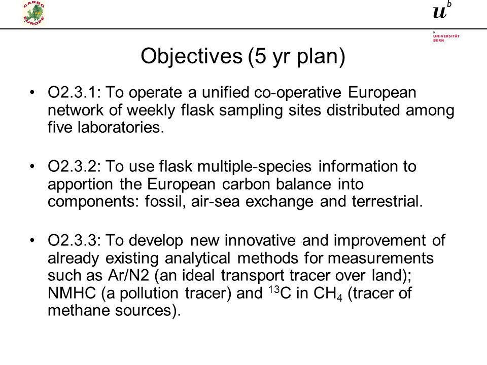 Objectives (5 yr plan) O2.3.1: To operate a unified co-operative European network of weekly flask sampling sites distributed among five laboratories.