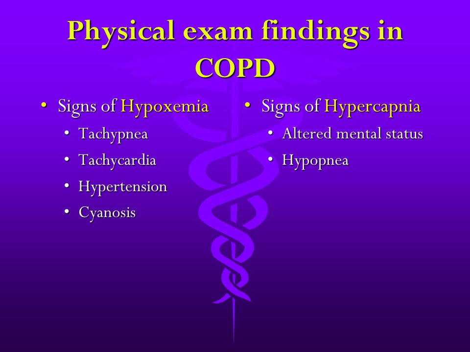 Physical exam findings in COPD Signs of HypoxemiaSigns of Hypoxemia TachypneaTachypnea TachycardiaTachycardia HypertensionHypertension CyanosisCyanosi