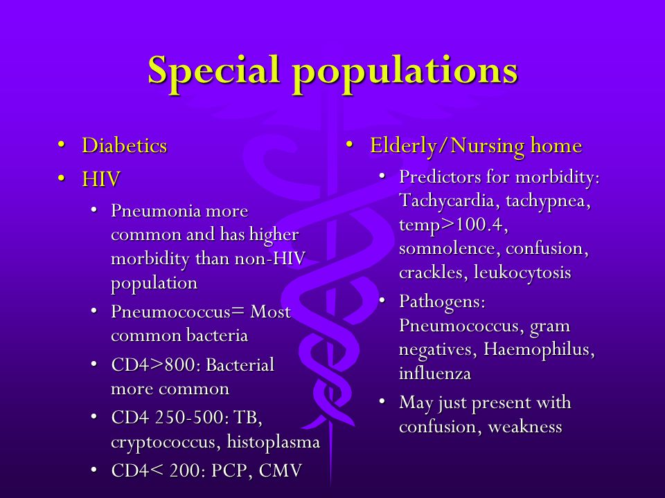Special populations DiabeticsDiabetics HIVHIV Pneumonia more common and has higher morbidity than non-HIV populationPneumonia more common and has high
