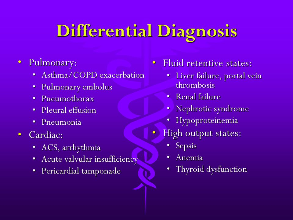 Differential Diagnosis Pulmonary:Pulmonary: Asthma/COPD exacerbationAsthma/COPD exacerbation Pulmonary embolusPulmonary embolus PneumothoraxPneumothor