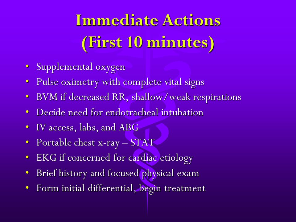 Immediate Actions (First 10 minutes) Supplemental oxygenSupplemental oxygen Pulse oximetry with complete vital signsPulse oximetry with complete vital