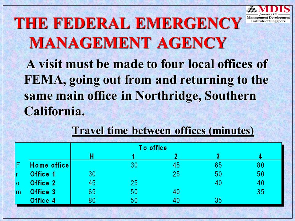 30Other Network ModelsLesson 6 THE FEDERAL EMERGENCY MANAGEMENT AGENCY A visit must be made to four local offices of FEMA, going out from and returning to the same main office in Northridge, Southern California.