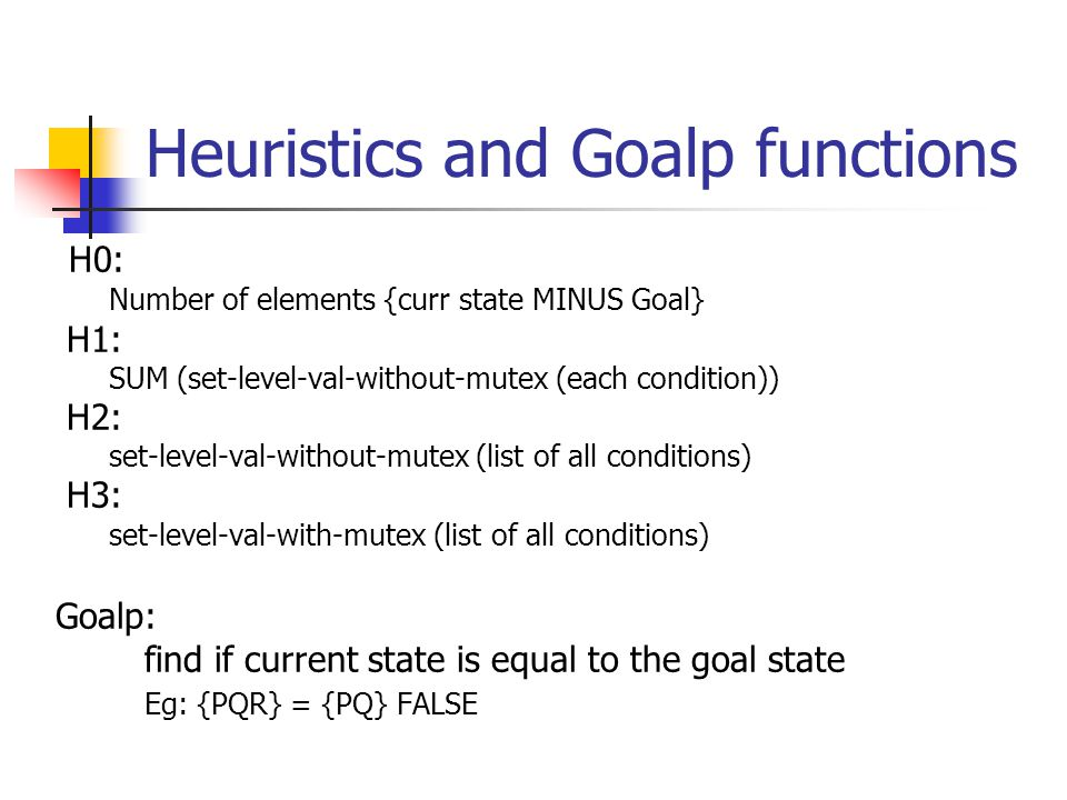 Heuristics and Goalp functions H0: Number of elements {curr state MINUS Goal} H1: SUM (set-level-val-without-mutex (each condition)) H2: set-level-val-without-mutex (list of all conditions) H3: set-level-val-with-mutex (list of all conditions) Goalp: find if current state is equal to the goal state Eg: {PQR} = {PQ} FALSE