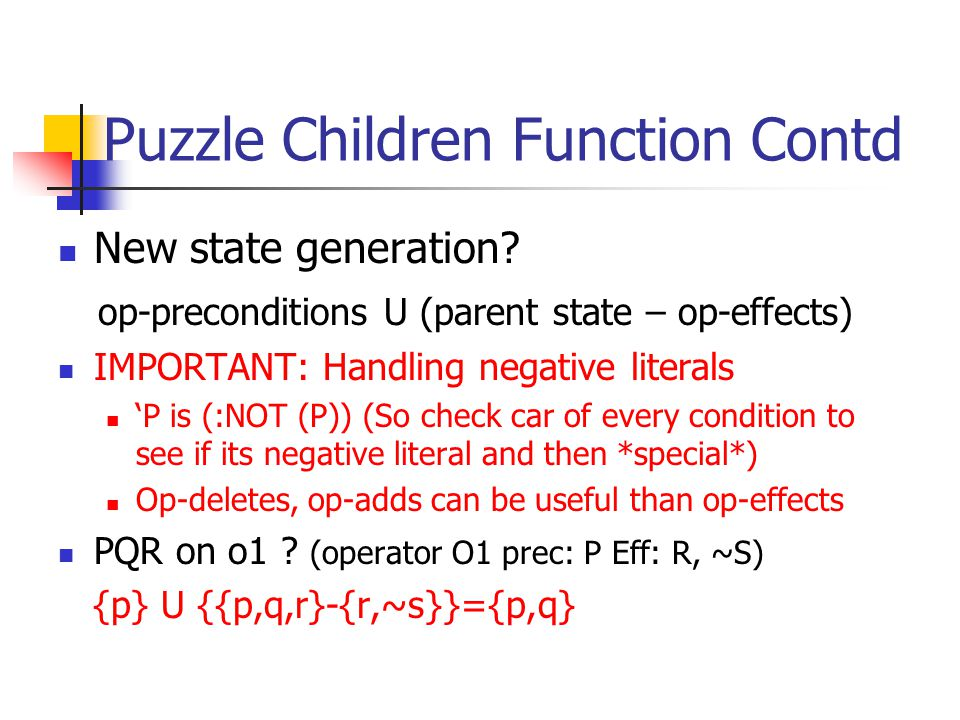 Puzzle Children Function Contd New state generation.