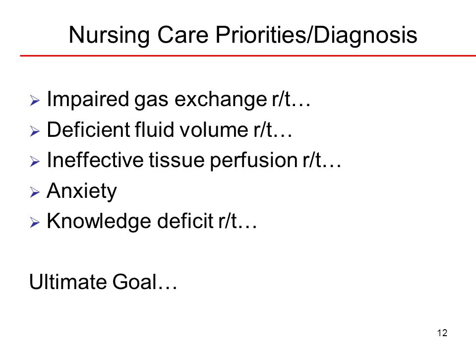 12 Nursing Care Priorities/Diagnosis  Impaired gas exchange r/t…  Deficient fluid volume r/t…  Ineffective tissue perfusion r/t…  Anxiety  Knowle