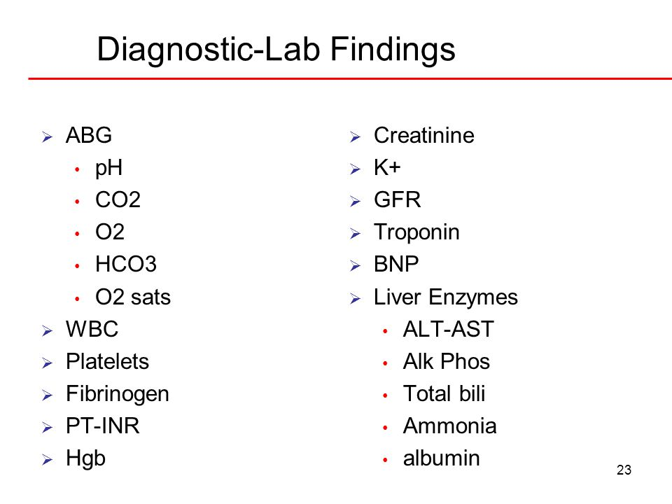 23 Diagnostic-Lab Findings  ABG pH CO2 O2 HCO3 O2 sats  WBC  Platelets  Fibrinogen  PT-INR  Hgb  Creatinine  K+  GFR  Troponin  BNP  Liver