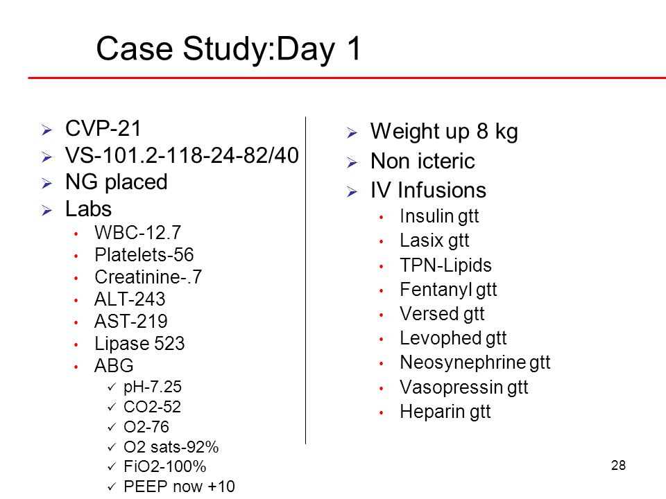 28 Case Study:Day 1  CVP-21  VS-101.2-118-24-82/40  NG placed  Labs WBC-12.7 Platelets-56 Creatinine-.7 ALT-243 AST-219 Lipase 523 ABG pH-7.25 CO2
