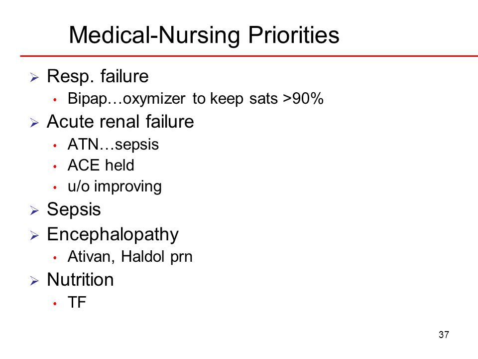 37 Medical-Nursing Priorities  Resp. failure Bipap…oxymizer to keep sats >90%  Acute renal failure ATN…sepsis ACE held u/o improving  Sepsis  Ence