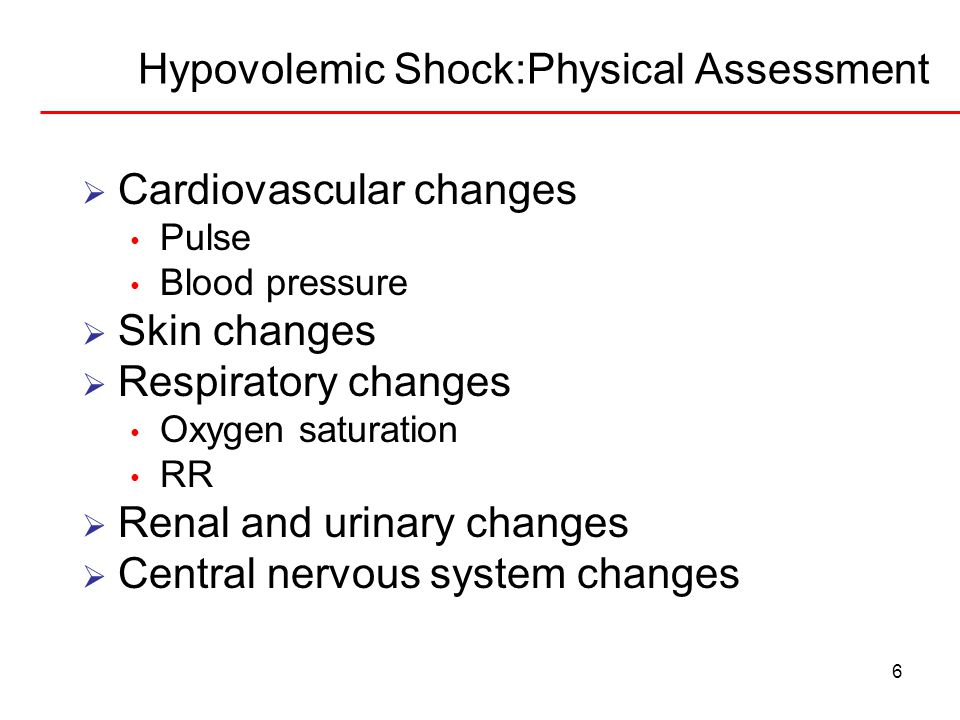 7 Hypovolemic Shock:Nursing Priorities  Impaired gas exchange Nursing interventions  Deficient fluid volume Nursing interventions  Decreased cardiac output Nursing interventions  Risk for ineffective tissue perfusion Body systems impacted??.