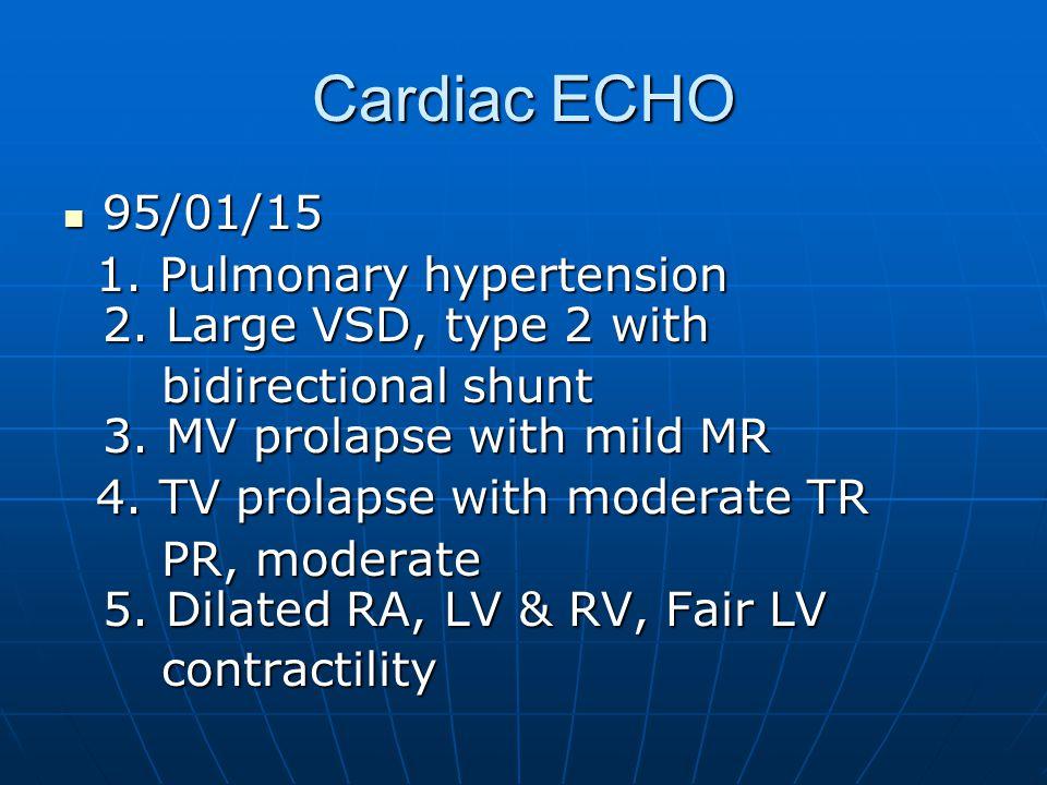 Cardiac Cath – L-to-R shunt Qp / Qs ≒ Qp / Qs ≒ sys A-V O2 difference / pul A-V O2 difference = sys A-V O2 difference / pul A-V O2 difference = (aortic O2 sat - central venous O2 sat)/ (aortic O2 sat - central venous O2 sat)/ (pulm venous O2 sat - pulm art sat) (pulm venous O2 sat - pulm art sat) 邱 XX Qp/Qs = 96.6-59 / 97.6-92 = 4 邱 XX Qp/Qs = 96.6-59 / 97.6-92 = 4