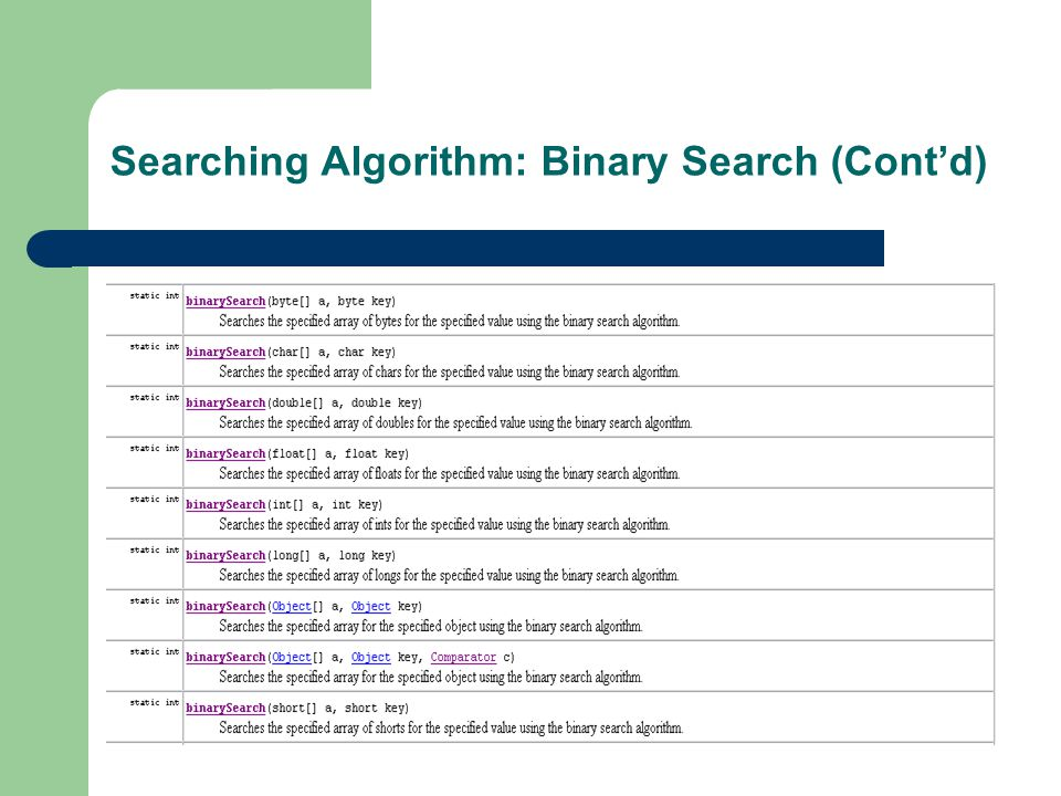 Searching Algorithm: Binary Search (Cont'd)