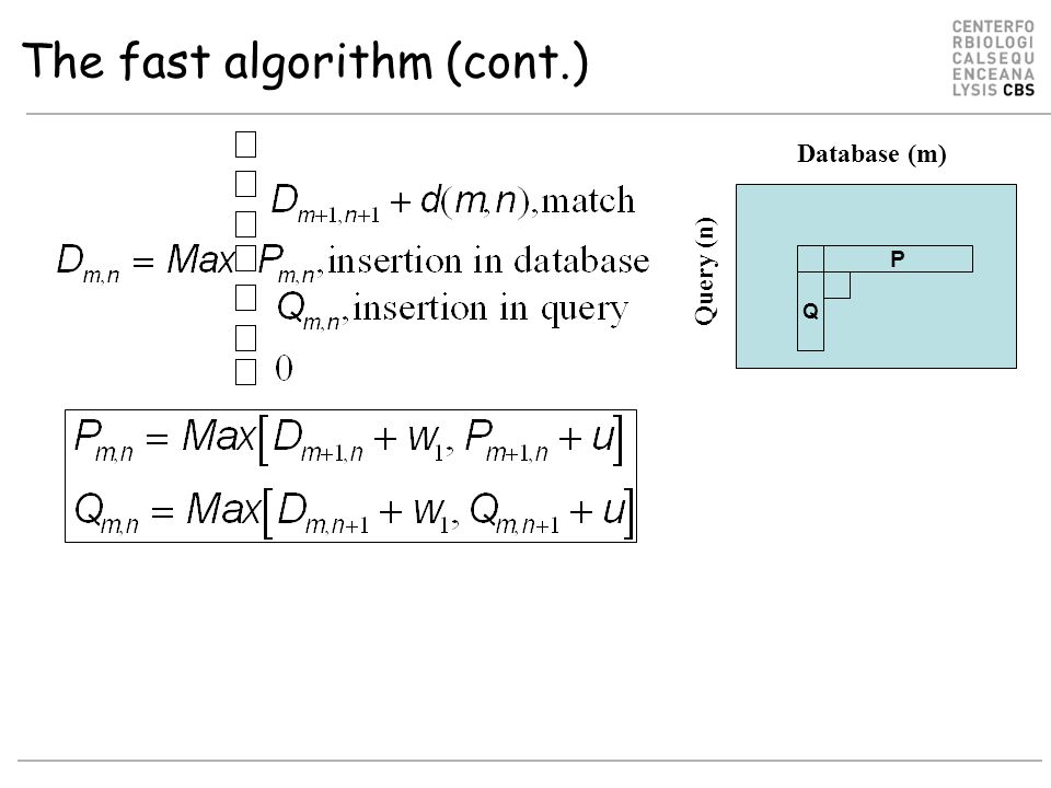 The fast algorithm (cont.) Database (m) Query (n) P Q