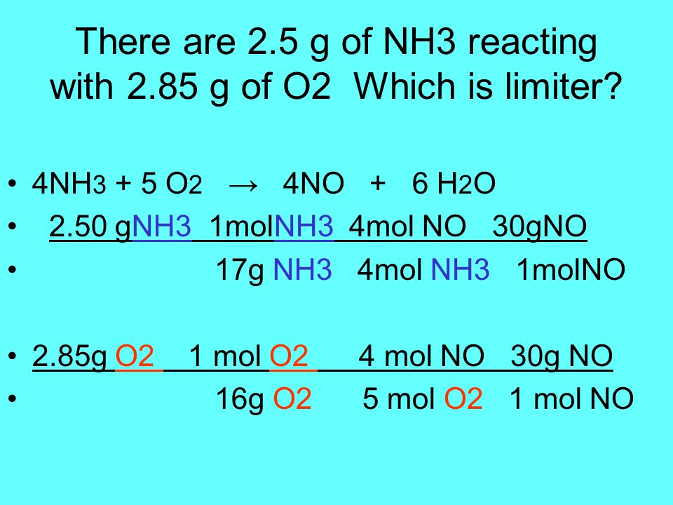 There are 2.5 g of NH3 reacting with 2.85 g of O2 Which is limiter.