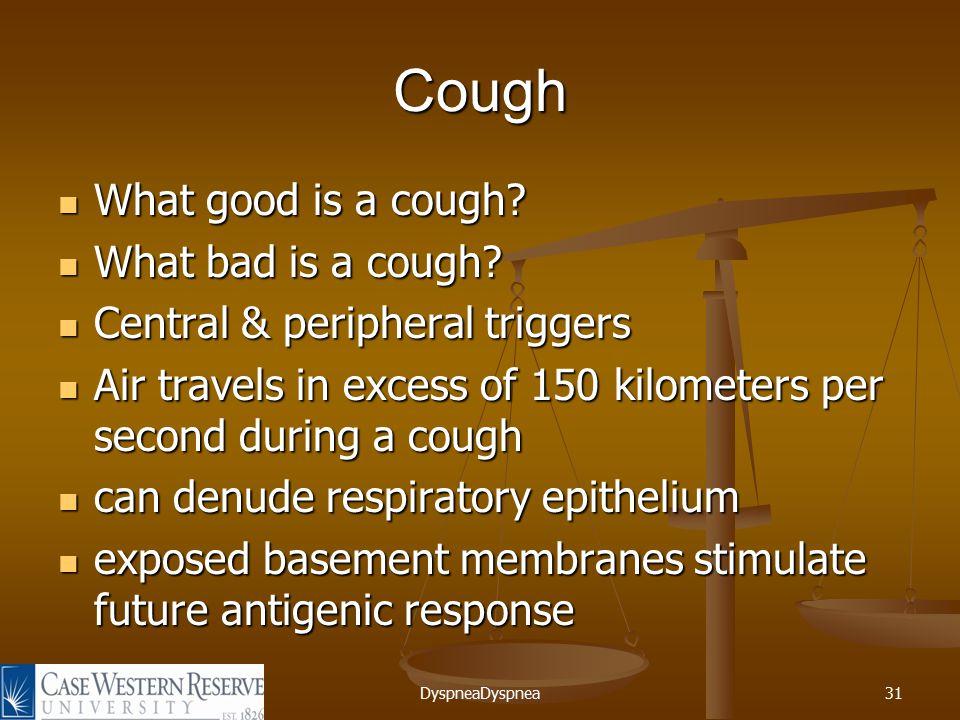 DyspneaDyspnea31 Cough What good is a cough. What good is a cough.