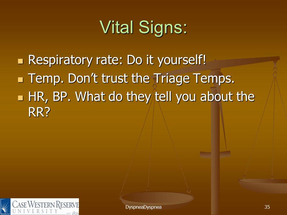 DyspneaDyspnea35 Vital Signs: Respiratory rate: Do it yourself.