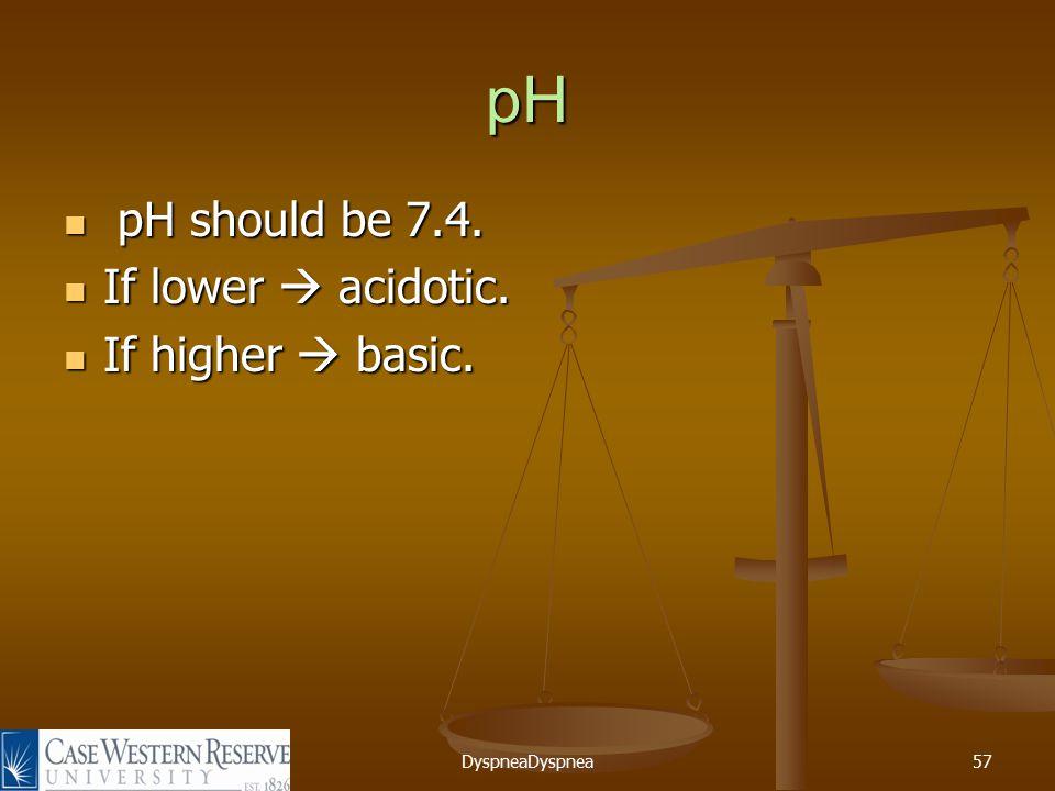 DyspneaDyspnea57 pH pH should be 7.4. pH should be 7.4.