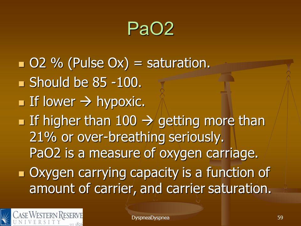 DyspneaDyspnea59 PaO2 O2 % (Pulse Ox) = saturation.