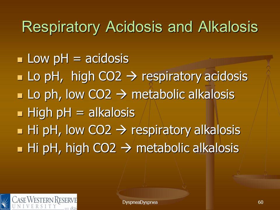 DyspneaDyspnea60 Respiratory Acidosis and Alkalosis Low pH = acidosis Low pH = acidosis Lo pH, high CO2  respiratory acidosis Lo pH, high CO2  respiratory acidosis Lo ph, low CO2  metabolic alkalosis Lo ph, low CO2  metabolic alkalosis High pH = alkalosis High pH = alkalosis Hi pH, low CO2  respiratory alkalosis Hi pH, low CO2  respiratory alkalosis Hi pH, high CO2  metabolic alkalosis Hi pH, high CO2  metabolic alkalosis