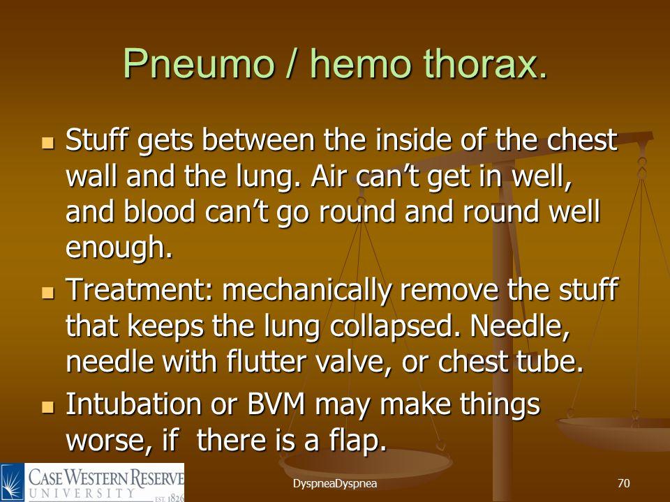 DyspneaDyspnea70 Pneumo / hemo thorax.