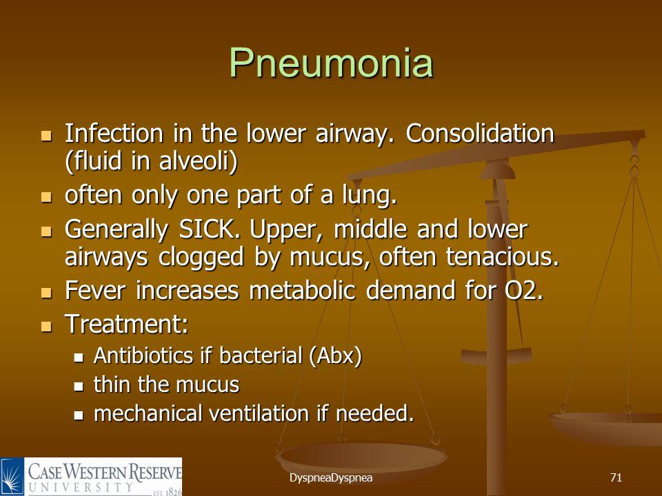 DyspneaDyspnea71 Pneumonia Infection in the lower airway.