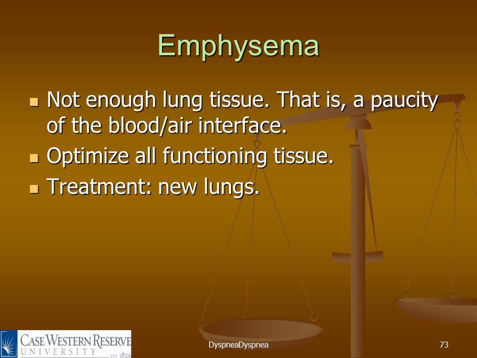 DyspneaDyspnea73 Emphysema Not enough lung tissue.