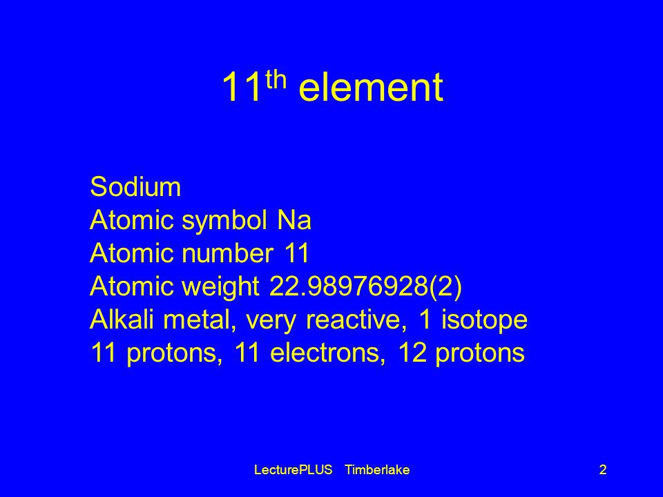 11 th element LecturePLUS Timberlake2 Sodium Atomic symbol Na Atomic number 11 Atomic weight 22.98976928(2) Alkali metal, very reactive, 1 isotope 11 protons, 11 electrons, 12 protons