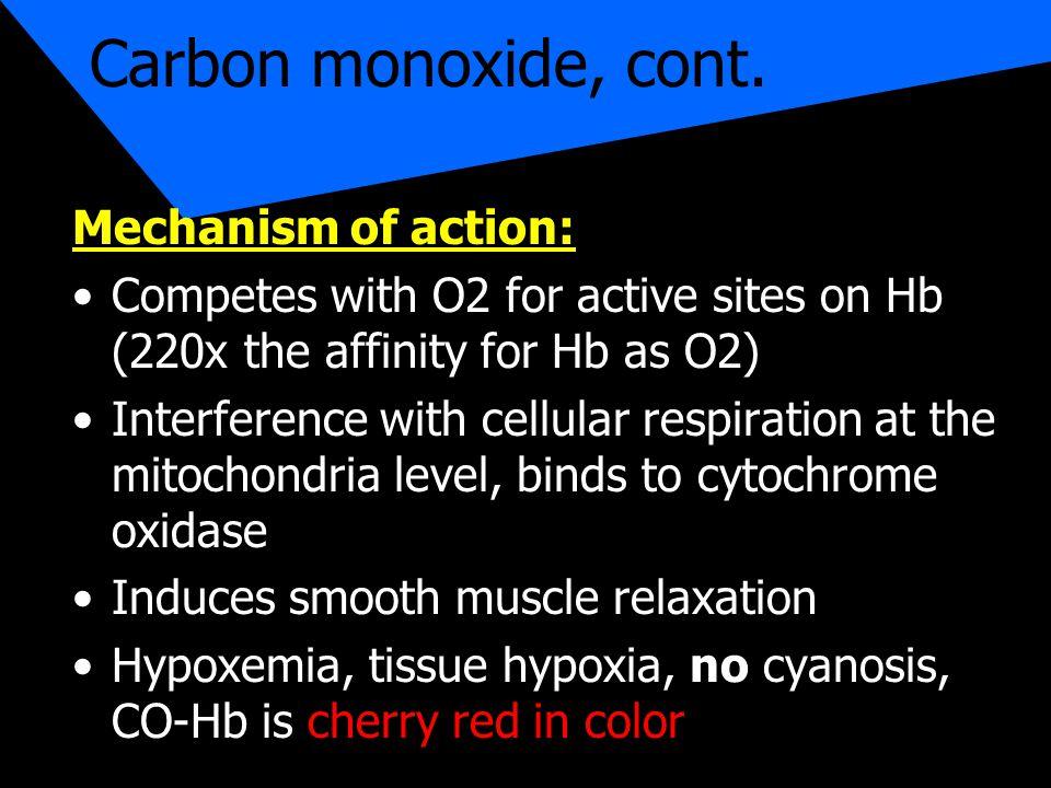Carbon monoxide, cont.