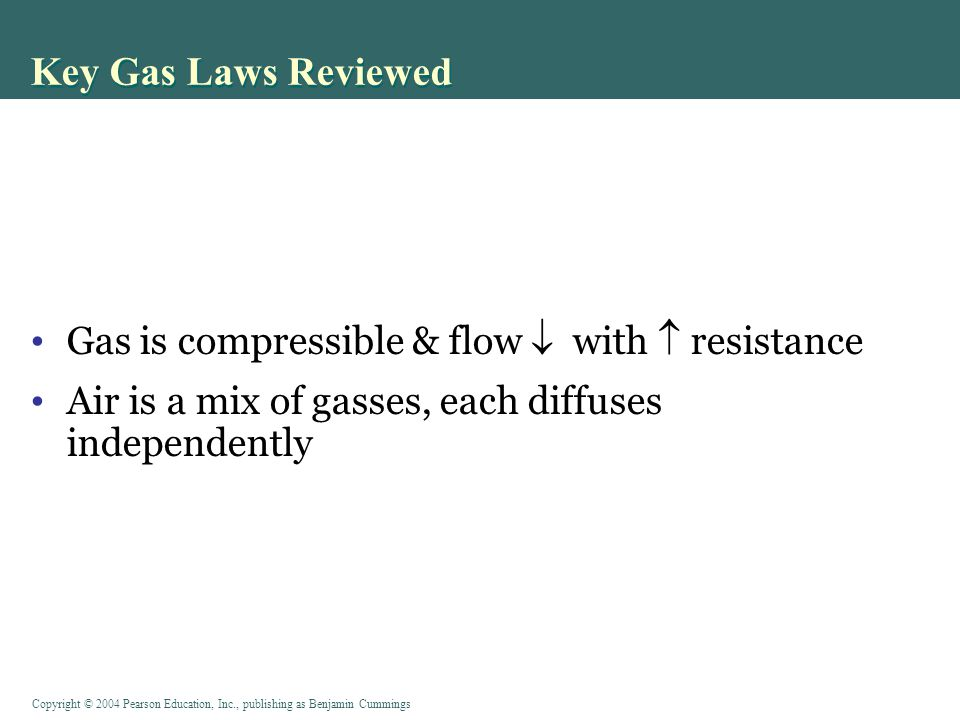 Copyright © 2004 Pearson Education, Inc., publishing as Benjamin Cummings Key Gas Laws Reviewed Gas is compressible & flow  with  resistance Air is a mix of gasses, each diffuses independently