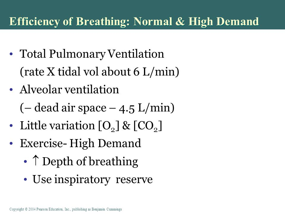 Copyright © 2004 Pearson Education, Inc., publishing as Benjamin Cummings Efficiency of Breathing: Normal & High Demand Total Pulmonary Ventilation (rate X tidal vol about 6 L/min) Alveolar ventilation (– dead air space – 4.5 L/min) Little variation [O 2 ] & [CO 2 ] Exercise- High Demand  Depth of breathing Use inspiratory reserve