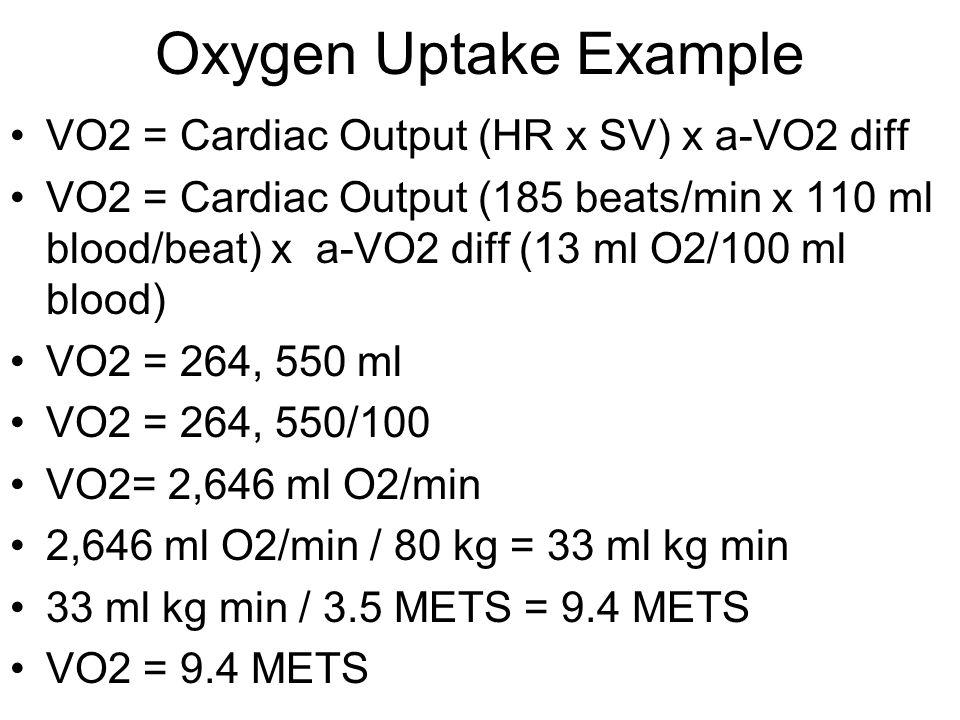 Oxygen Uptake Example VO2 = Cardiac Output (HR x SV) x a-VO2 diff VO2 = Cardiac Output (185 beats/min x 110 ml blood/beat) x a-VO2 diff (13 ml O2/100 ml blood) VO2 = 264, 550 ml VO2 = 264, 550/100 VO2= 2,646 ml O2/min 2,646 ml O2/min / 80 kg = 33 ml kg min 33 ml kg min / 3.5 METS = 9.4 METS VO2 = 9.4 METS