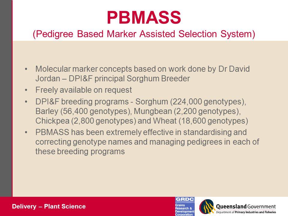 Delivery – Plant Science PBMASS (Pedigree Based Marker Assisted Selection System) Molecular marker concepts based on work done by Dr David Jordan – DP