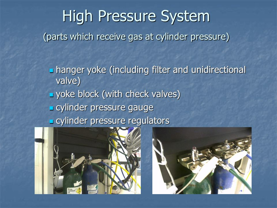 High Pressure System (parts which receive gas at cylinder pressure) hanger yoke (including filter and unidirectional valve) hanger yoke (including fil