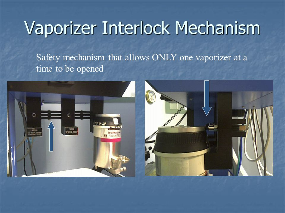 Vaporizer Interlock Mechanism Safety mechanism that allows ONLY one vaporizer at a time to be opened