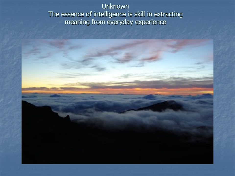 Unknown The essence of intelligence is skill in extracting meaning from everyday experience Unknown The essence of intelligence is skill in extracting
