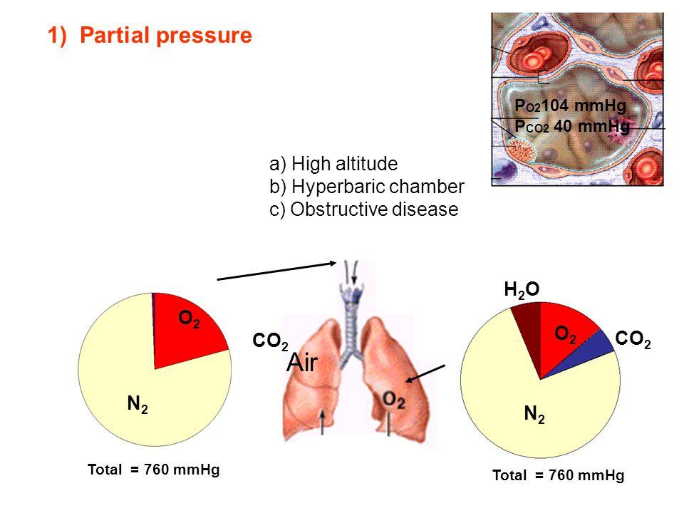 O2O2 CO 2 N2N2 O2O2 N2N2 H2OH2O Total = 760 mmHg Air a) High altitude b) Hyperbaric chamber c) Obstructive disease P O2 104 mmHg P CO2 40 mmHg 1) Part