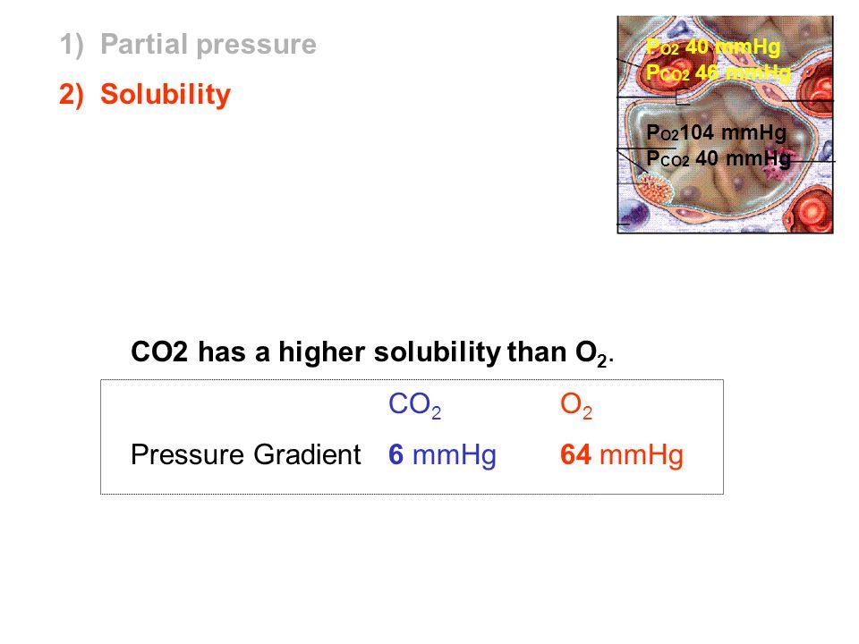CO2 has a higher solubility than O 2. CO 2 O 2 Pressure Gradient6 mmHg 64 mmHg P O2 104 mmHg P CO2 40 mmHg 2) Solubility P O2 40 mmHg P CO2 46 mmHg 1)