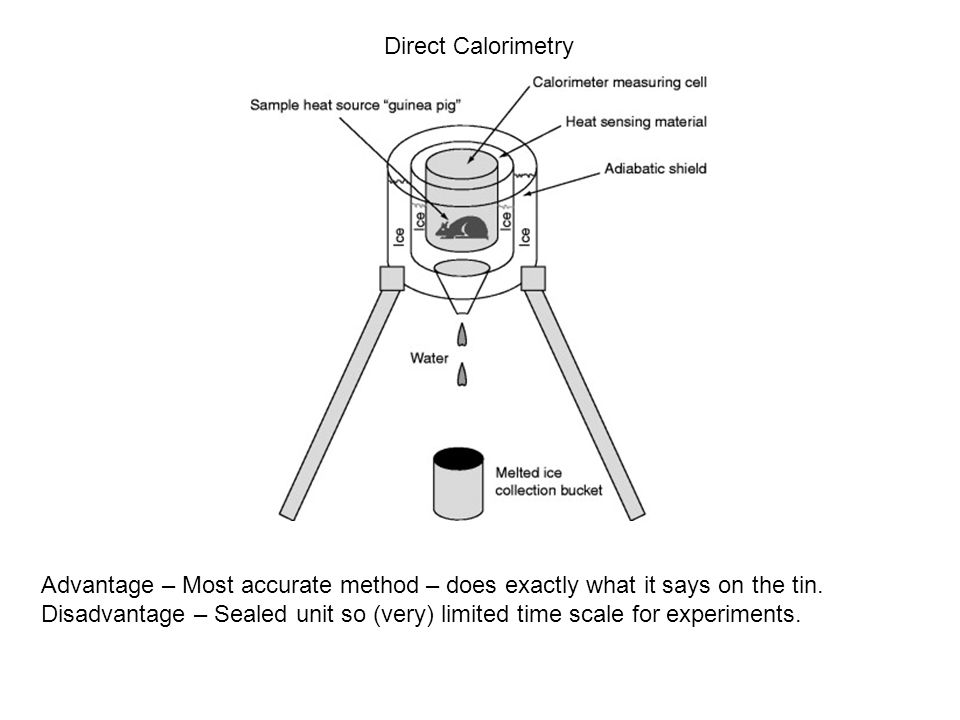 Direct Calorimetry Advantage – Most accurate method – does exactly what it says on the tin. Disadvantage – Sealed unit so (very) limited time scale fo