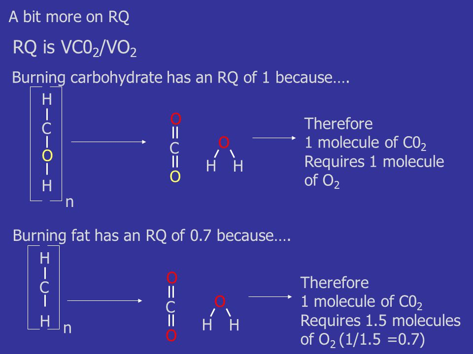 A bit more on RQ RQ is VC0 2 /VO 2 Burning carbohydrate has an RQ of 1 because….