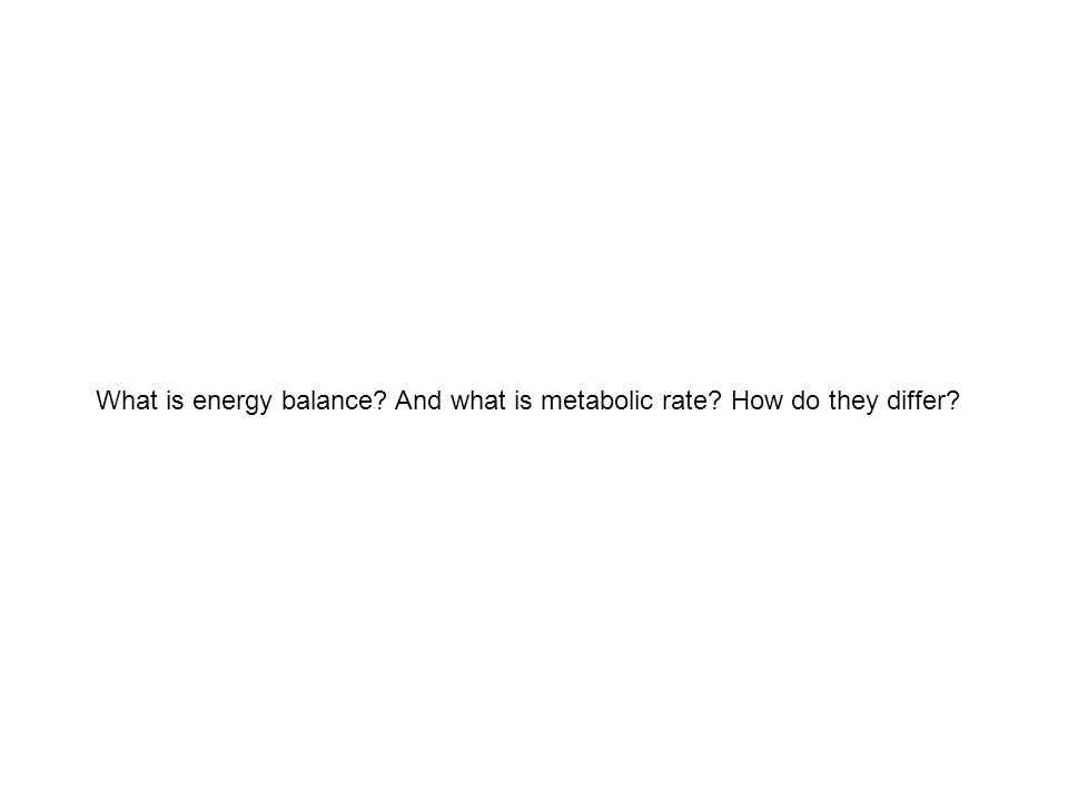 What is energy balance? And what is metabolic rate? How do they differ?