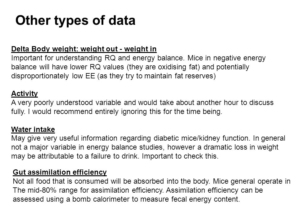 Delta Body weight: weight out - weight in Important for understanding RQ and energy balance.