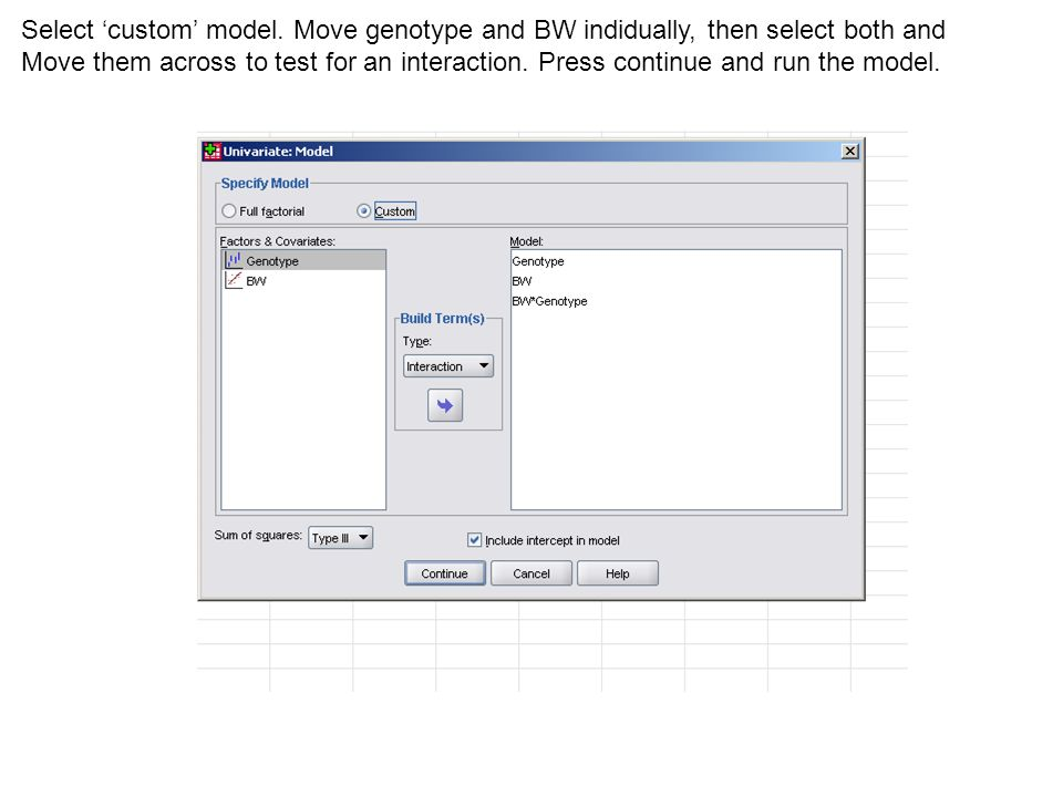 Select 'custom' model. Move genotype and BW indidually, then select both and Move them across to test for an interaction. Press continue and run the m