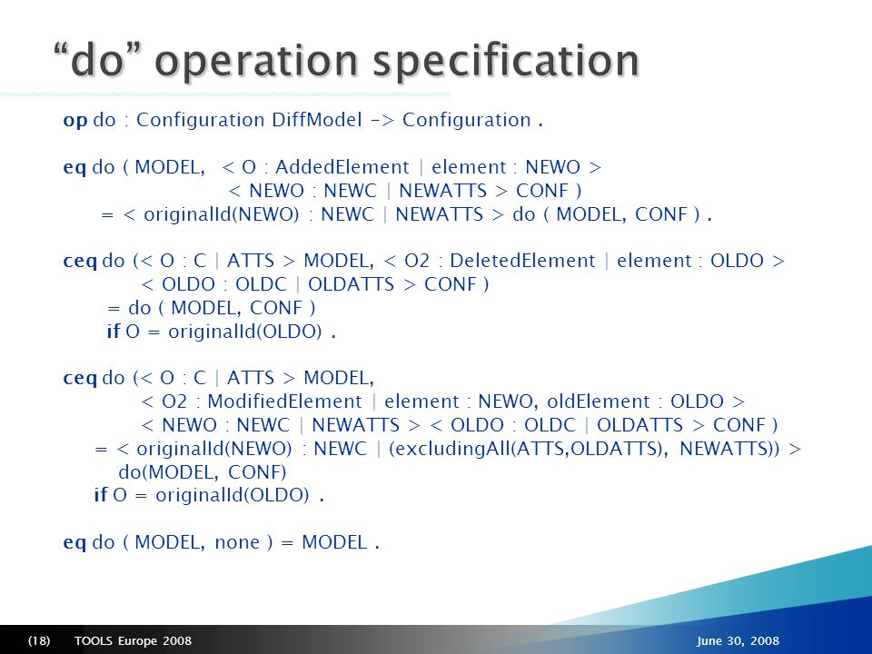 TOOLS Europe 2008(18)June 30, 2008 op do : Configuration DiffModel -> Configuration.