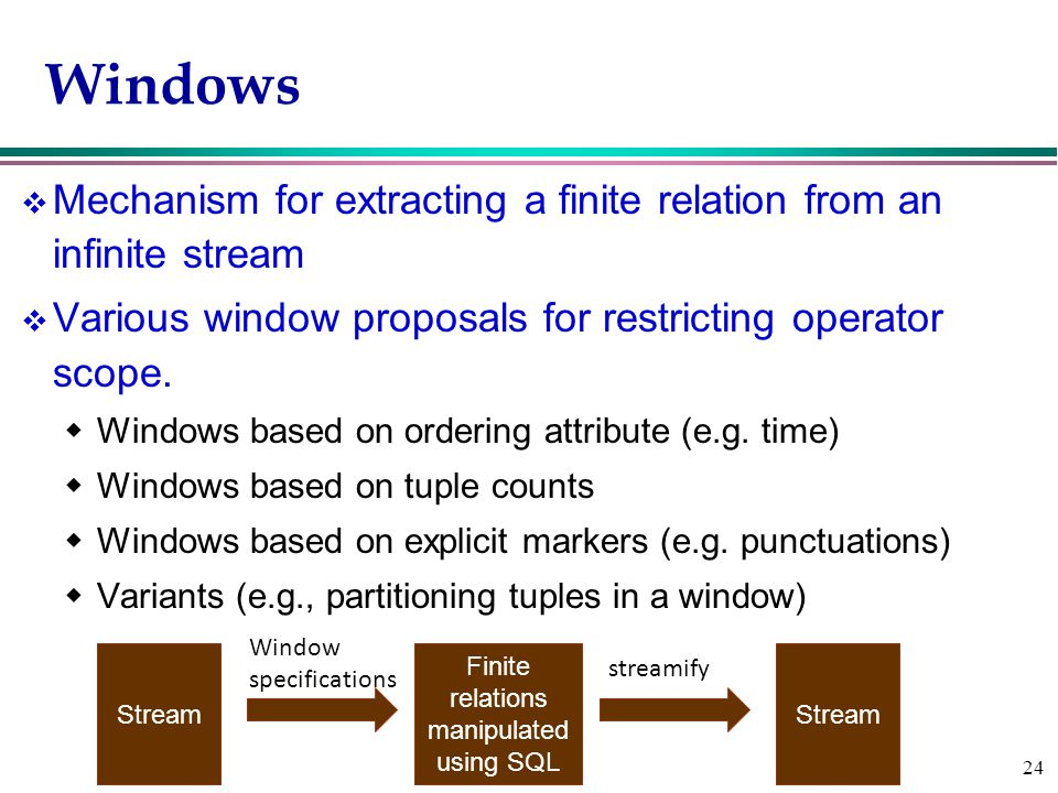 24 Windows v Mechanism for extracting a finite relation from an infinite stream v Various window proposals for restricting operator scope.