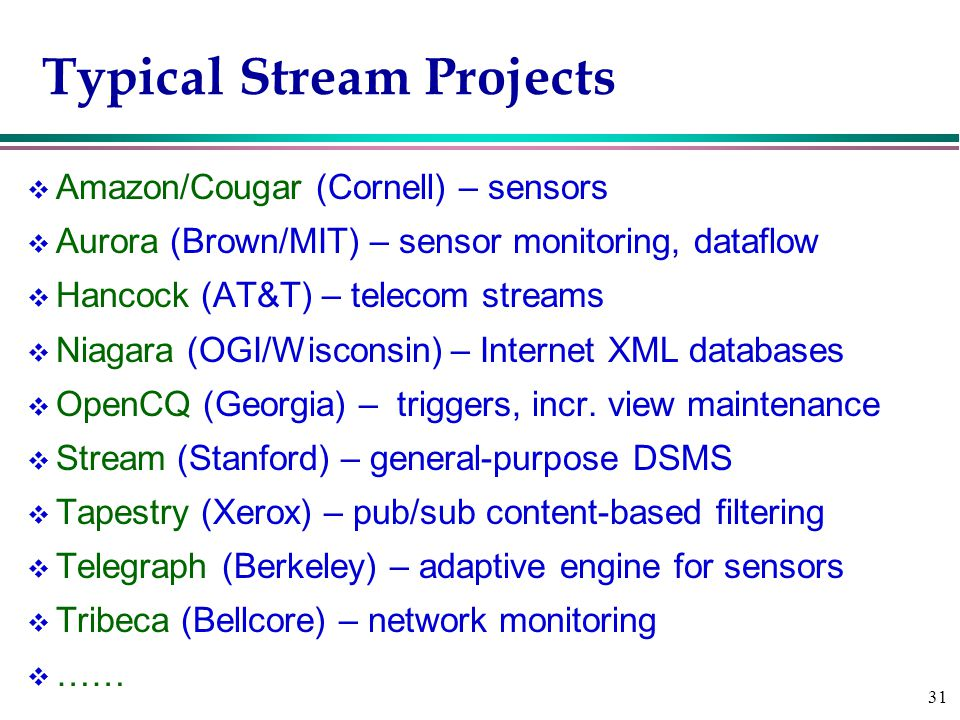 31 Typical Stream Projects v Amazon/Cougar (Cornell) – sensors v Aurora (Brown/MIT) – sensor monitoring, dataflow v Hancock (AT&T) – telecom streams v Niagara (OGI/Wisconsin) – Internet XML databases v OpenCQ (Georgia) – triggers, incr.