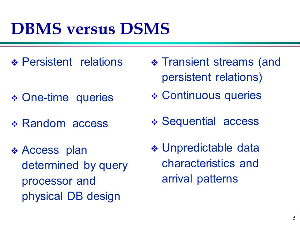 5 DBMS versus DSMS v Persistent relations v One-time queries v Random access v Access plan determined by query processor and physical DB design v Transient streams (and persistent relations) v Continuous queries v Sequential access v Unpredictable data characteristics and arrival patterns