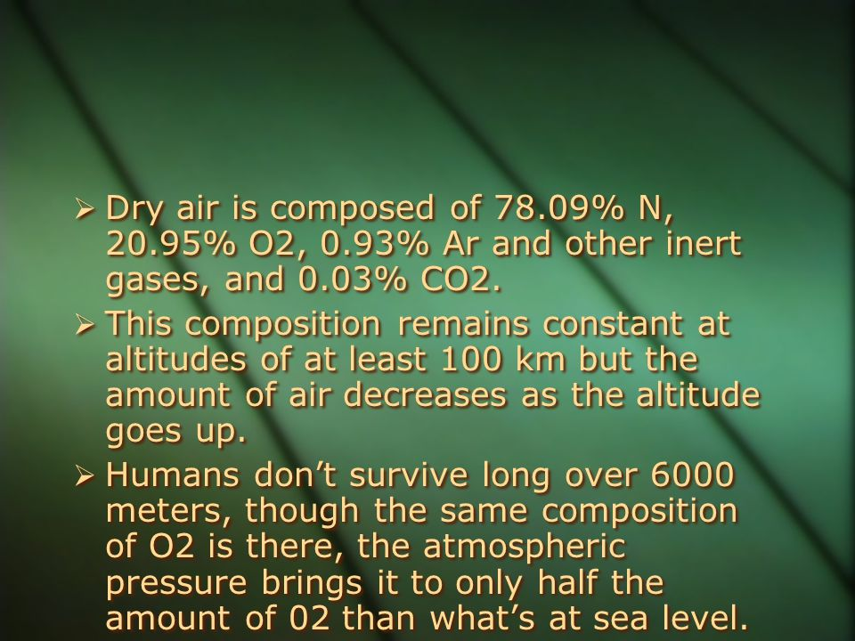 Dry air is composed of 78.09% N, 20.95% O2, 0.93% Ar and other inert gases, and 0.03% CO2.  This composition remains constant at altitudes of at le