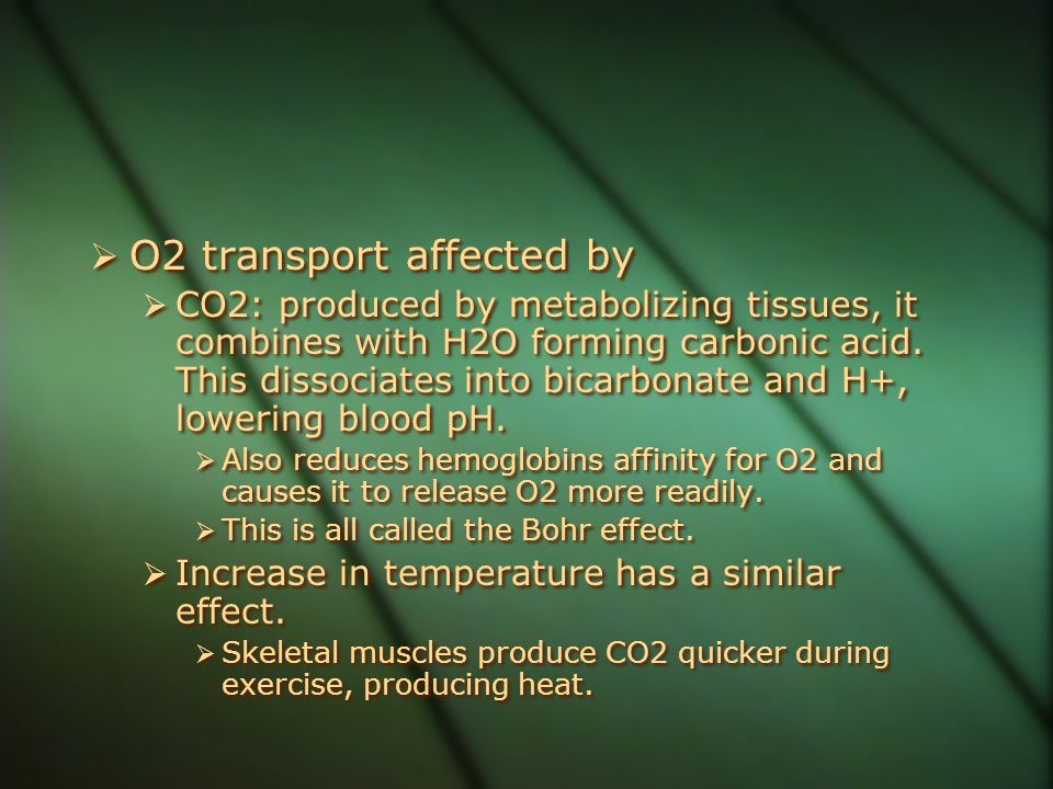  O2 transport affected by  CO2: produced by metabolizing tissues, it combines with H2O forming carbonic acid. This dissociates into bicarbonate and