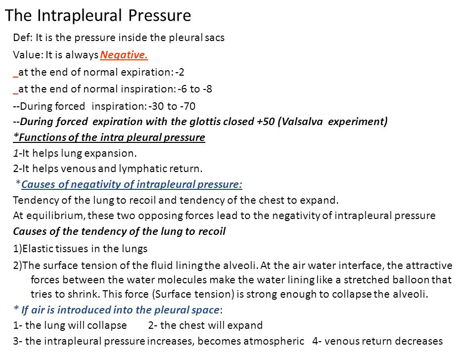 The Intrapleural Pressure Def: It is the pressure inside the pleural sacs Value: It is always Negative.