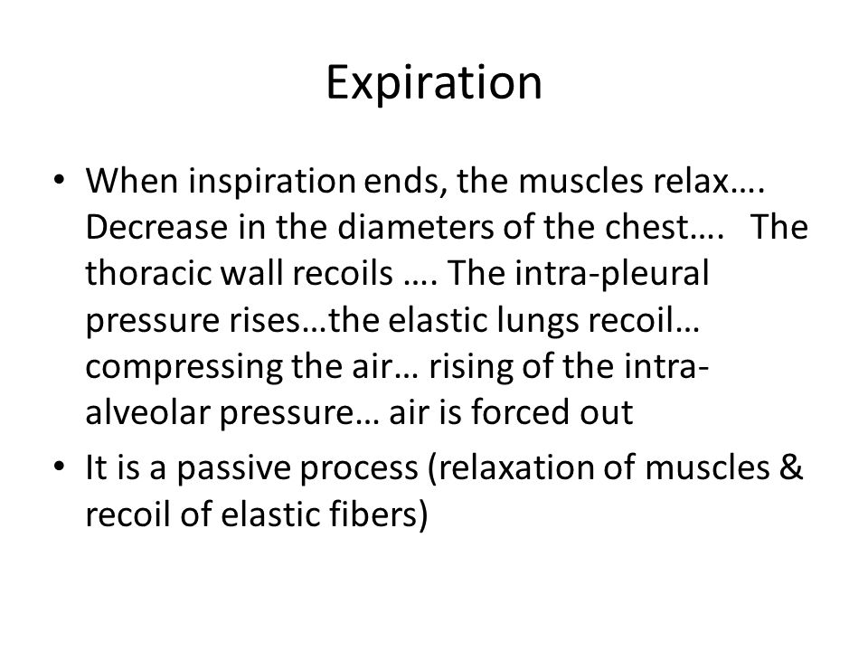Expiration When inspiration ends, the muscles relax….