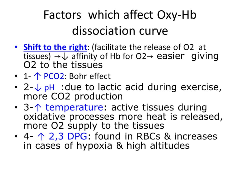 Factors which affect Oxy-Hb dissociation curve Shift to the right: (facilitate the release of O2 at tissues) → ↓ affinity of Hb for O2 → easier giving O2 to the tissues 1- ↑ PCO2: Bohr effect 2- ↓ pH :due to lactic acid during exercise, more CO2 production 3- ↑ temperature: active tissues during oxidative processes more heat is released, more O2 supply to the tissues 4- ↑ 2,3 DPG: found in RBCs & increases in cases of hypoxia & high altitudes